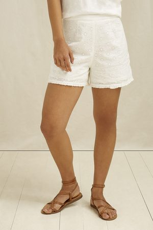 People Tree Nova Broderie Shorts In White 10