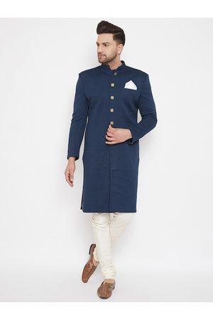 Vastramay Men Navy Blue & White Slim Fit Self-Design Quilted Sherwani Set