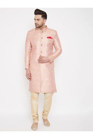 Vastramay Men Pink & Gold-Coloured Slim Fit Brocade Woven Design Sherwani Set