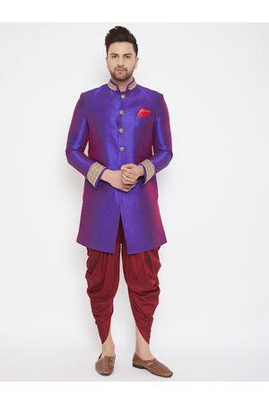 Vastramay Men Purple & Red Solid Embellished Detail Sherwani With Dhoti Pants