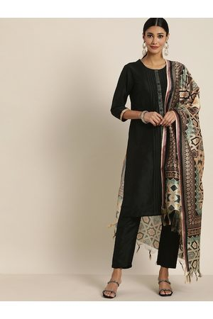 all about you Women Black Solid Kurti with Trousers & Dupatta