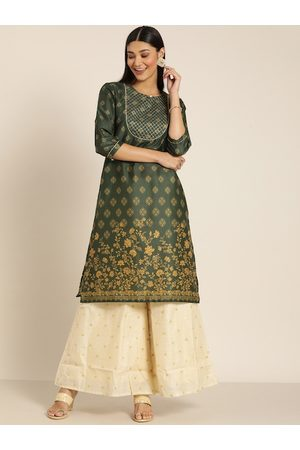 all about you Women Olive Green & Yellow Printed Kurta
