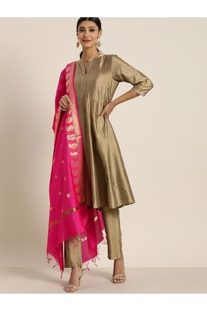 all about you Women Beige Solid Kurta with Trousers & Dupatta