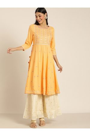 all about you Women Yellow Embroidered A-Line Kurta