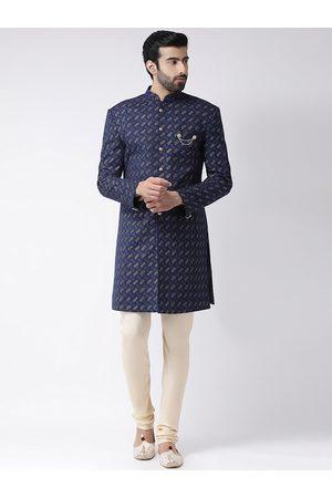 Vartah Men Navy Blue Printed Sherwani