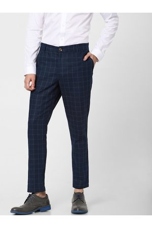 Jack & Jones Men Navy Blue & Green Slim Fit Checked Regular Trousers