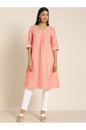all about you Women Peach-coloured & White Striped A-Line Kurta