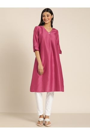 all about you Women Pink Solid A-line Kurta