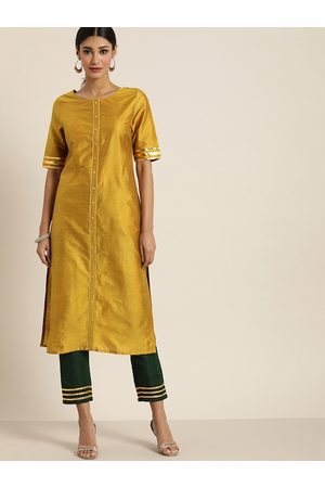 all about you Women Mustard & Green Solid Kurta with Trousers