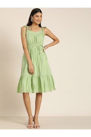 all about you Women Green Self Design Pure Cotton Fit and Flare Dress