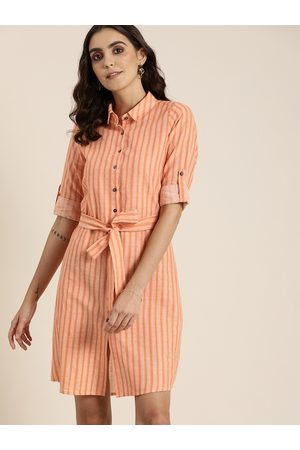 all about you Women Orange & White Striped A-Line Dress