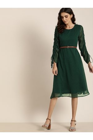 all about you Women Green Self Design A-Line Dress