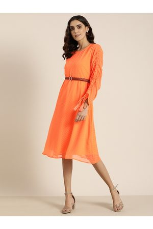 all about you Women Orange Self Design A-Line Dress