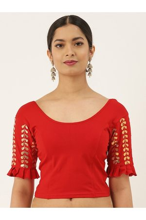 VASTRANAND Women Red Solid Stretchable Gotta Patti Work Saree Blouse