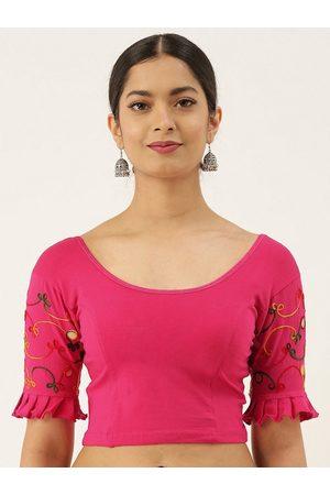 VASTRANAND Women Pink Solid Stretchable Ari Work Saree Blouse