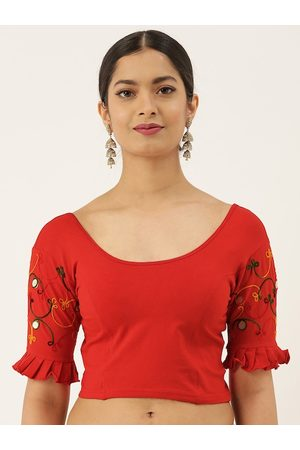 VASTRANAND Women Red Solid Stretchable Ari Work Saree Blouse
