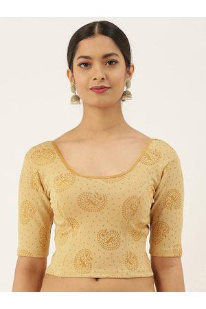 VASTRANAND Women Beige & Golden Woven design Stretchable Saree Blouse