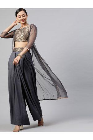 STREET 9 Women Grey & Gold-Toned Self Design Crop Top with Dhoti Pants & Longline Jacket