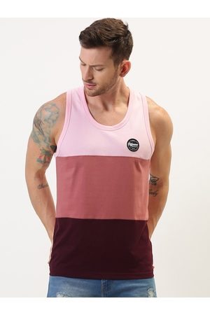 Difference of Opinion Men Pink & Peach-Coloured Colourblocked Round Neck T-shirt