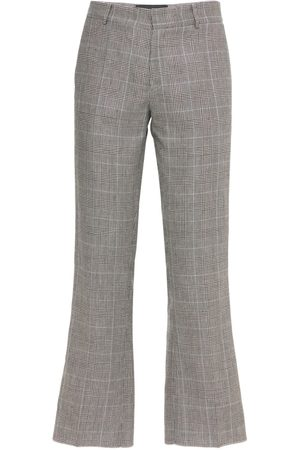 COOL Men Formal Trousers - Skater Wool & Linen Check Cropped Pants