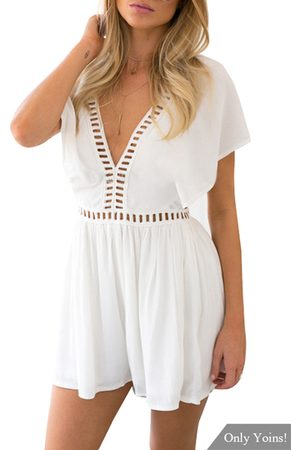 YOINS V-neck Hollow Out Playsuit