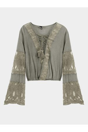 YOINS Women Long Sleeve - Lace-up Flared Sleeves Top