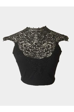 YOINS High Neck Crochet Lace Insert Crop Top with Self-tie Back