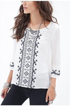 YOINS Ethnic Embroidered Top