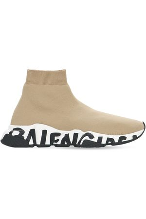 Balenciaga Women Sneakers - 30mm Speed Graffiti Knit Sneakers