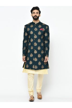 Vartah Men Teal Blue & Cream-Coloured Printed Kurta Sherwani Set
