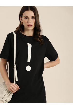 DILLINGER Women Black & White Printed Round Neck Pure Cotton T-shirt