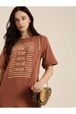 DILLINGER Women Brown Printed Round Neck Longline Oversized T-shirt