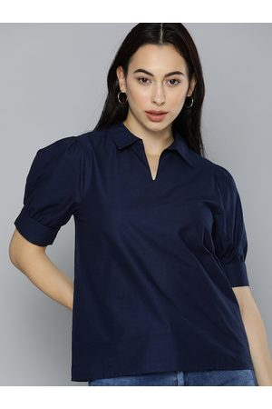 Chemistry Women Navy Blue Puff Sleeves Pure Cotton Shirt Style Top