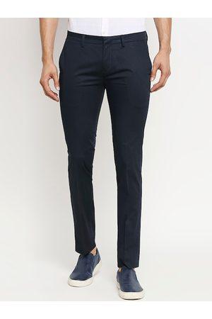 Mufti Men Navy Blue Slim Fit Solid Regular Trousers