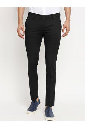 Mufti Men Black Slim Fit Solid Regular Trousers