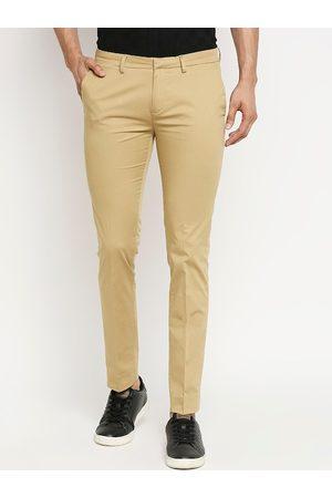 Mufti Men Khaki Slim Fit Solid Regular Trousers