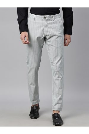 RARE RABBIT Men Green Regular Fit Striped Regular Trousers