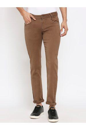 Mufti Men Brown Skinny Fit Solid Regular Trousers