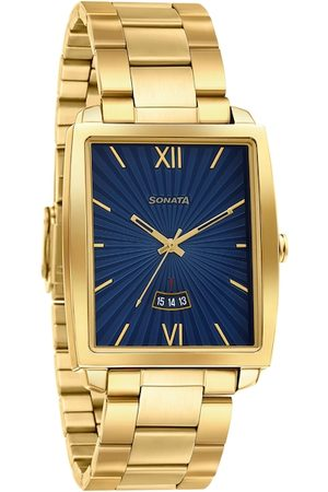 Sonata Men Blue & Gold-Toned Analogue Watch 7143YM01