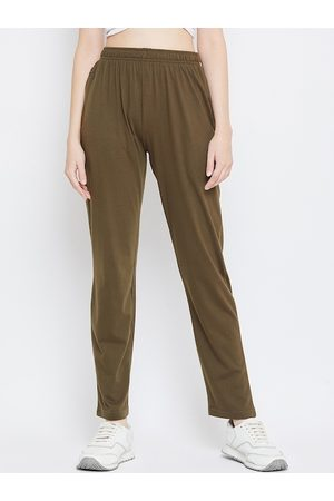 Okane Women Olive-Green Solid Track pants