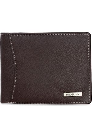 Hidelink Men Brown Textured Two Fold Leather Wallet