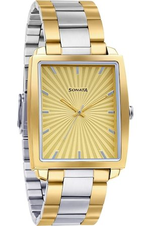 Sonata Men Cream-Coloured & Silver-Toned Analogue Watch 7143BM01