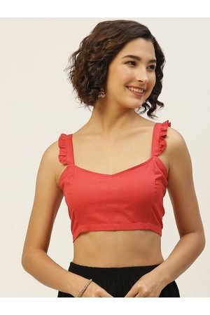 Molcha Women Red Solid Pure Cotton Saree Blouse