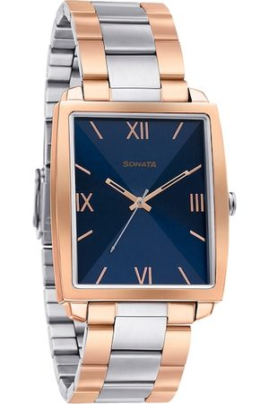 Sonata Men Blue & Silver-Toned Analogue Watch 7143KM01