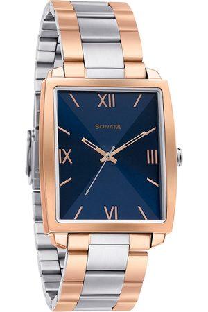 Sonata Men Watches - Men Blue & Silver-Toned Analogue Watch 7143KM01