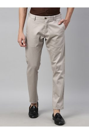 RARE RABBIT Men Beige Regular Fit Solid Regular Trousers