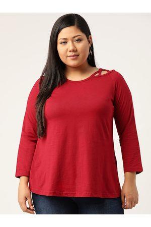 Revolution Plus Size Women Maroon Pure Cotton Solid Top
