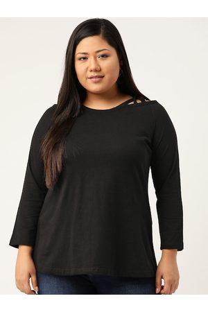 Revolution Plus Size Women Black Pure Cotton Solid Top