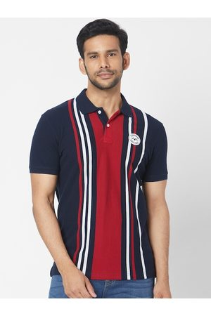 Mufti Men Navy Blue & Red Striped Polo Collar T-shirt