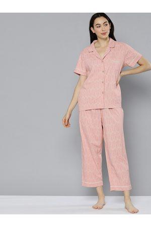 Chemistry Women Pink & Beige Printed Night suit